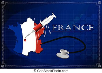 Map of France with Stethoscope and syringe.