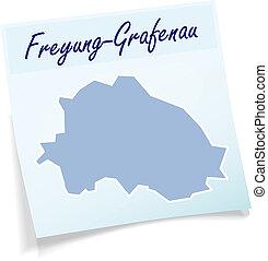 Map of Freyung Grafenau as sticky note in blue