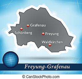 Map of Freyung Grafenau with abstract background in blue