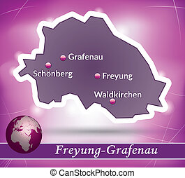 Map of Freyung Grafenau with abstract background in violet