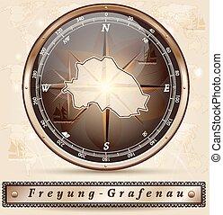 Map of Freyung Grafenau with borders in bronze