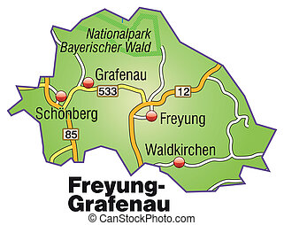 Map of Freyung Grafenau with highways