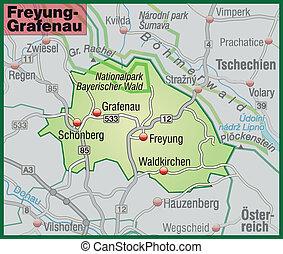 Map of Freyung Grafenau with highways in pastel green