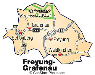 Map of Freyung Grafenau with highways in pastel orange