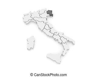 Map friulivenezia giulia italy 3dillustration Map stock