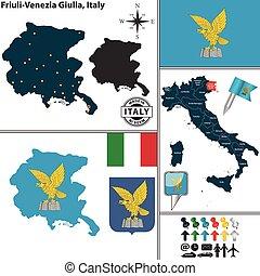 Map of Friuli-Venezia Giulia, Italy - Vector map of region...