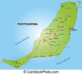 Map of fuerteventura with highways