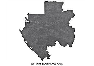 Map of Gabon on dark slate