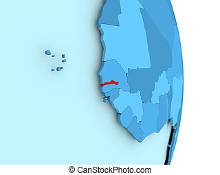 Map of Gambia in red