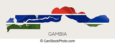 Map of Gambia with an official flag. Illustration on white background