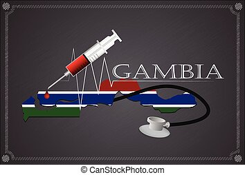 Map of  Gambia with Stethoscope and syringe.