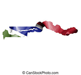 Map of Gambia with waving flag isolated on white
