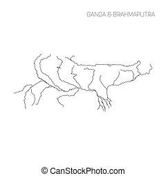 Map of Ganga and Brahmaputra rivers drainage basin. Simple...