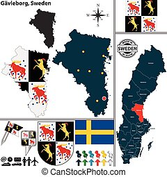 Map of Gavleborg, Sweden