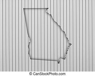 Map of Georgia on corrugated iron