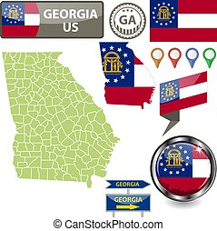 Map of Georgia, US