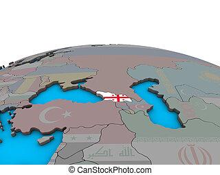 Map of Georgia with flag on globe