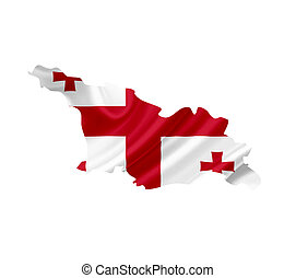 Map of Georgia with waving flag isolated on white