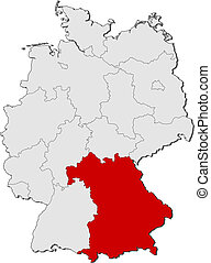 Map of Germany, Bavaria highlighted - Political map of...