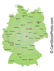 Map of Germany - Detailled map of Germany showing cities,...
