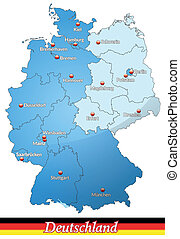 Map of Germany   in blue
