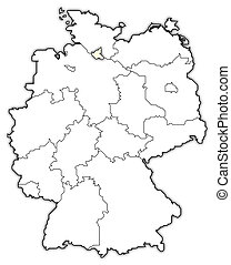 Political map of Germany with the several states where Hamburg is highlighted.
