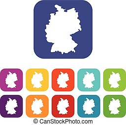 Map of Germany icons set