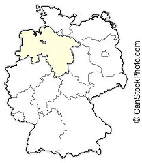 Map of germany, lower saxony highlighted. Political map of germany ...