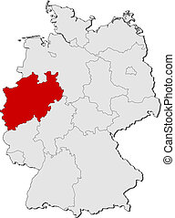 Map of Germany, North Rhine-Westphalia highlighted -...