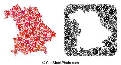 Map of Germany - Virus Mosaic with Hole