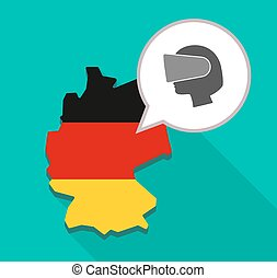 Map of Germany with  a female head wearing a virtual reality headset
