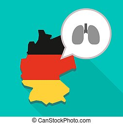 Map of Germany with a healthy human lung icon