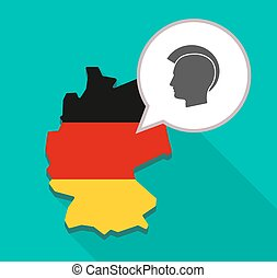 Map of Germany with  a male punk head silhouette