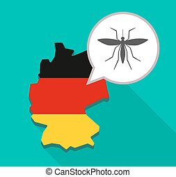 Map of Germany with a mosquito