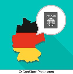 Map of Germany with a passport