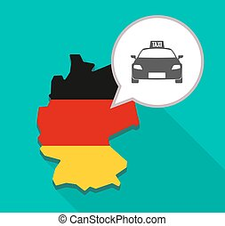 Map of Germany with  a taxi icon