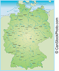 Map of Germany with aquatic network - Map of Germany with...