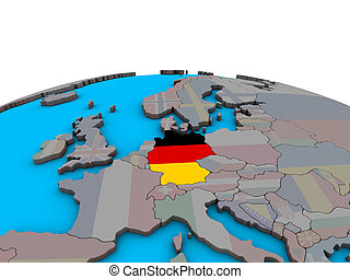 Map of Germany with flag on globe