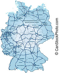 Map of Germany with highways in blue