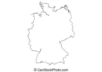 Map of Germany with isolated on white background