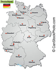 Map of Germany with main cities in gray