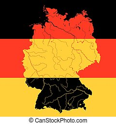 Map of Germany with rivers on German flag.