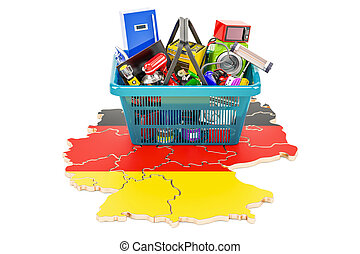Map of Germany with shopping basket full of home and kitchen appliances, 3D rendering