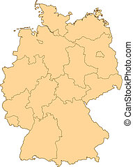 Map of Germany with the several provinces.