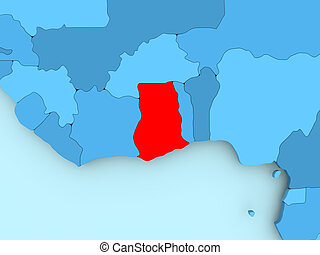 Map - ghana - 3d-illustration. Map of ghana as a gray piece with shadow.