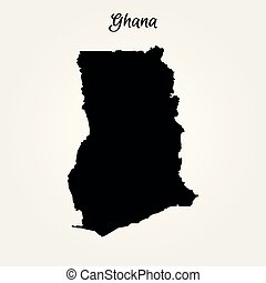 Map of Ghana. Vector illustration. World map