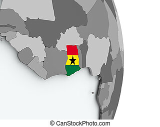 Map of Ghana with flag
