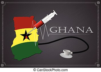 Map of Ghana with Stethoscope and syringe.
