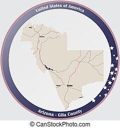 Map of Gila County in Arizona