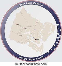 Large and detailed map of Glynn county in Georgia, USA.